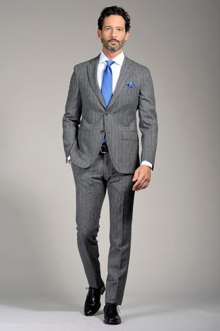 grey suit wide pinstripe slim Angelico