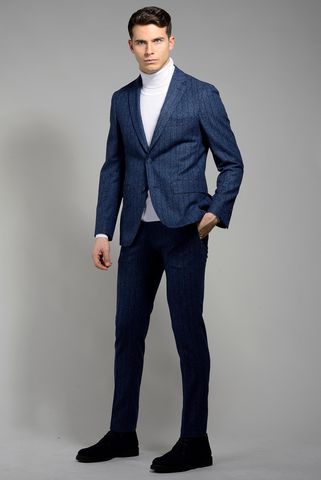 blue suit wide pinstripe slim Angelico