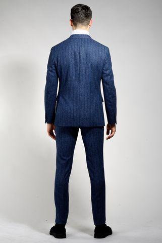 abito bluette gessato melange slim Angelico