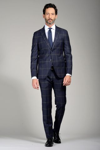 navy suit grey checkered slim Angelico