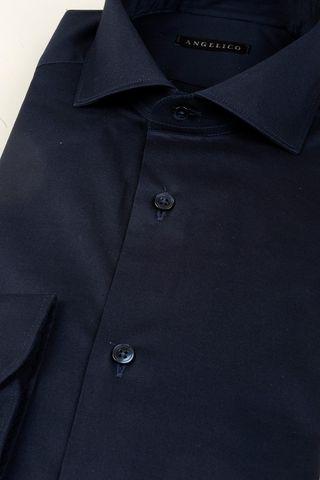 camicia blu elasticizzata slim Angelico