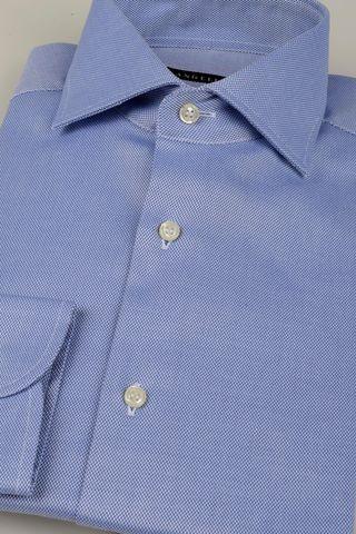 camicia blu armatura zigzag no-stiro Angelico