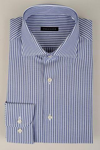 Camicia bianca-blu rigata Angelico
