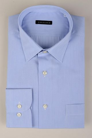 Camicia azzurra millerighe comoda Angelico