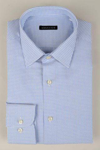 Camicia bianca-azzurro fantasia quadretto Angelico