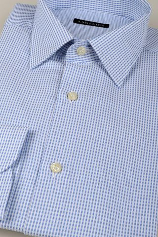 white-blu shirt fine ckeck patterns Angelico