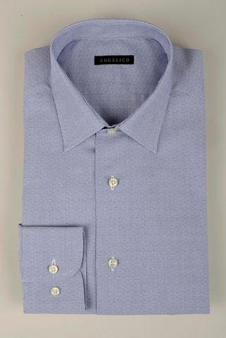 Camicia blu effetto micro-righe slim Angelico
