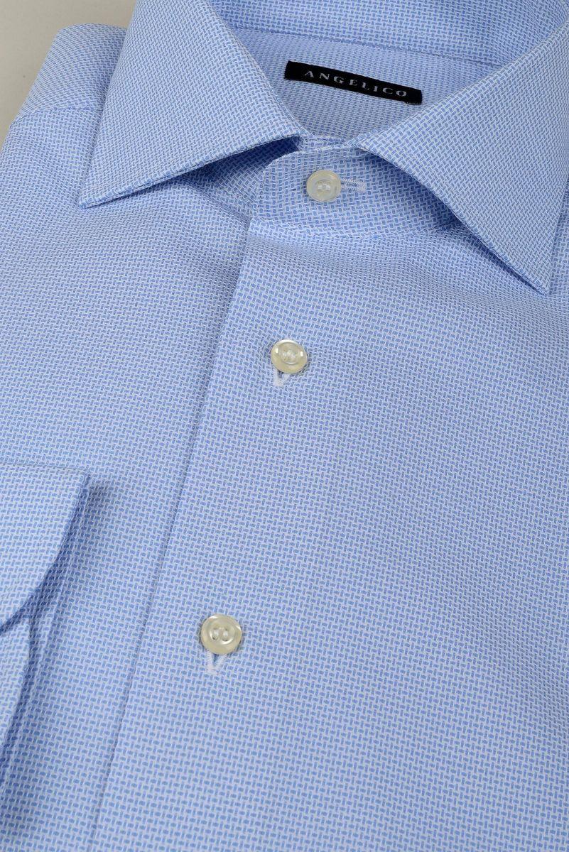 camicia azzurra micro-intreccio slim Angelico