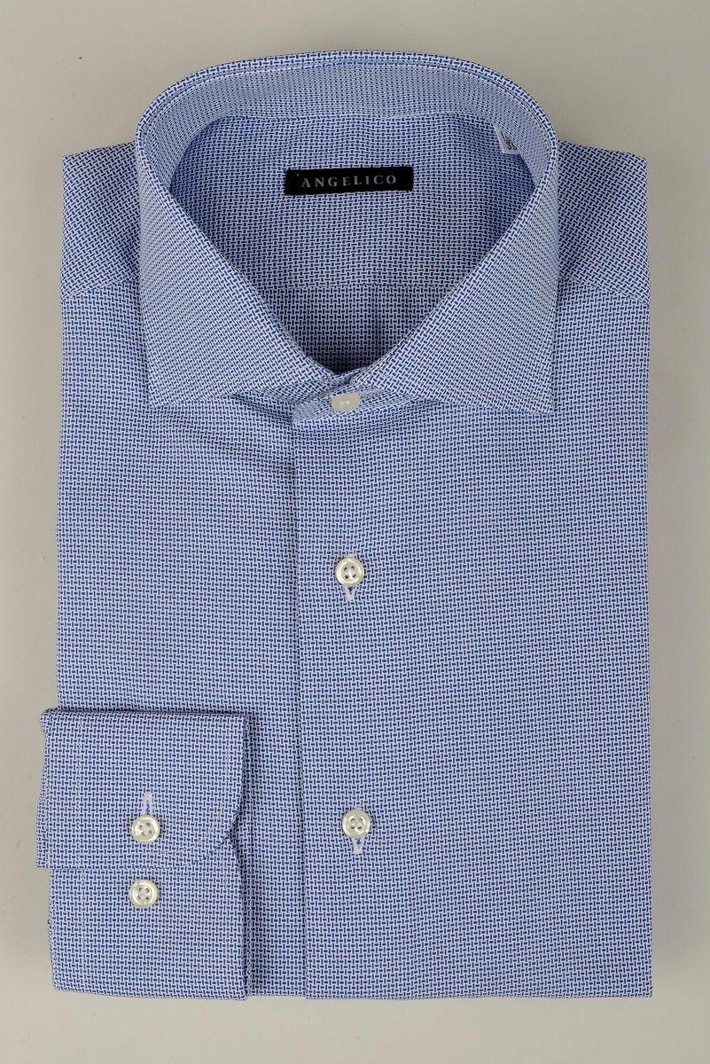 100/% Cotone Slim Fit Angelico Camicia Uomo Manica Lunga Collo Francese