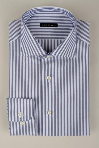 Camicia bianca-blu riga media slim Angelico