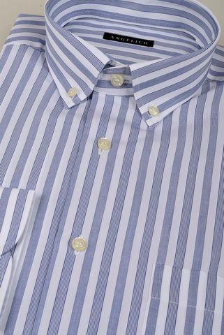 camicia bianca rigata bluette bd comoda Angelico