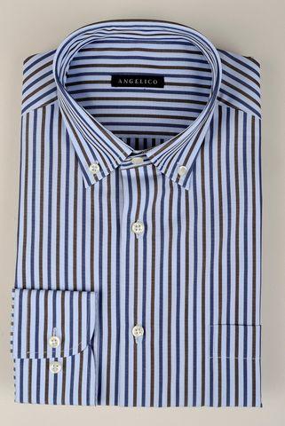 Camicia azzurra-moro rigata bd Angelico