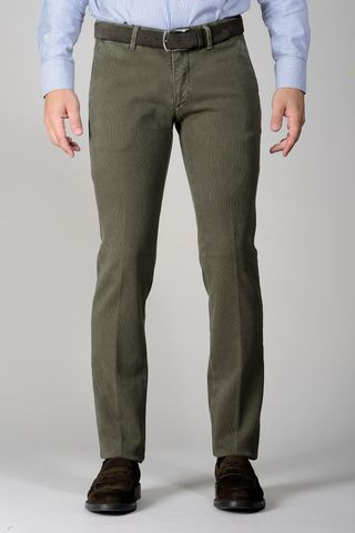olive green trousers honeycomb slim Angelico