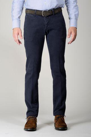 navy trousers honeycomb fabric slim Angelico