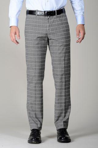 Pantalone grigio fantasia Galles cotone Angelico