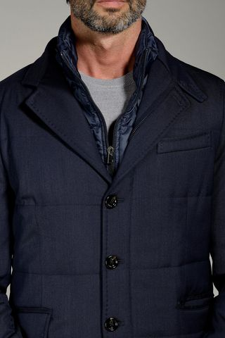 giaccone blu corto trapuntato pettorina Angelico
