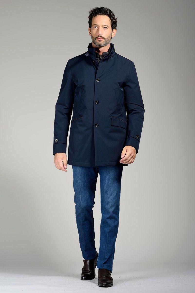 reputable site 42a9c 9c0ed Cappotto blu corto tecnico imbottito pettorina Angelico