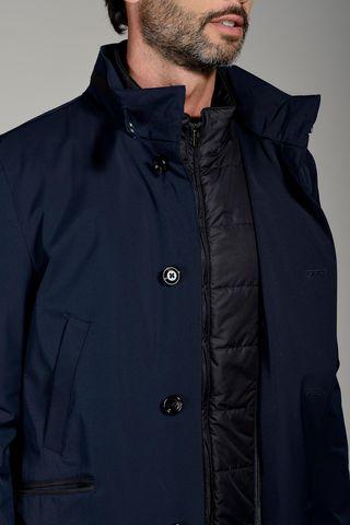 navy short technical coat with bib Angelico