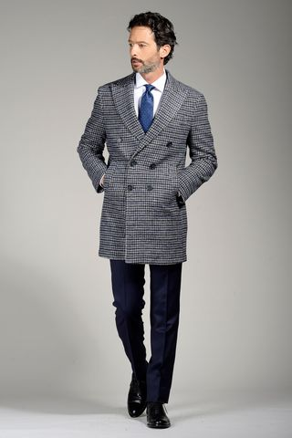 double-breasted blue-gray checkered coat Angelico