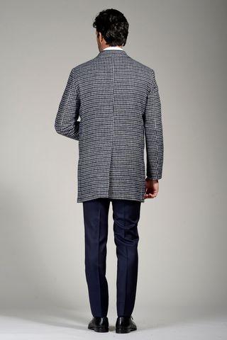 cappotto blu-grigio doppiopetto quadretto Angelico