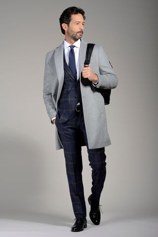 light grey wool-cashmere coat Angelico