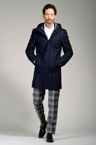 blue squared hooded coat and fur Angelico