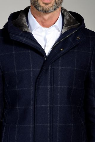 cappotto blu quadro cappuccio pelliccia Angelico