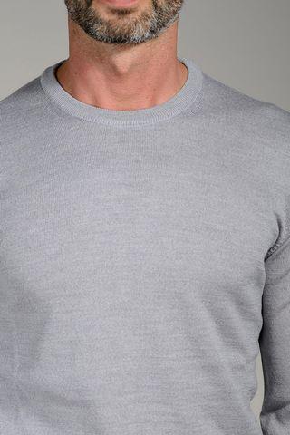 maglia grigio chiaro girocollo merino Angelico