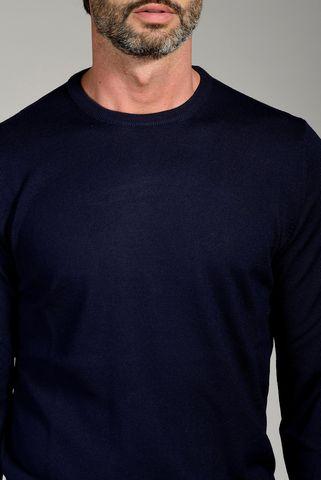 maglia blu girocollo merino Angelico
