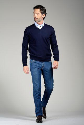 maglia v blu merino Angelico