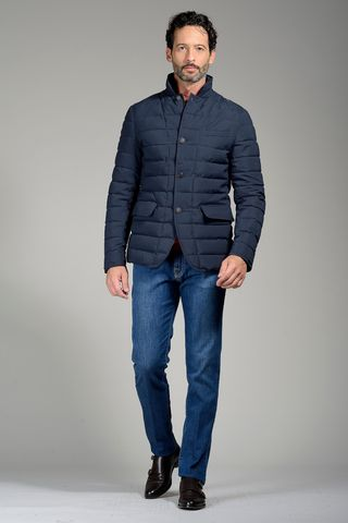 Blue quilted eco down jacket Angelico