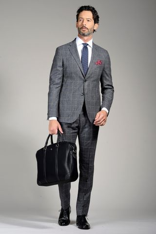 grey flannel suit squared slim unlined Angelico