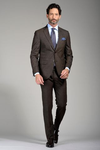 brown suit slim structured Angelico