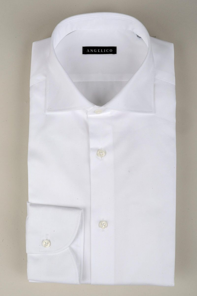camicia bianca twill francese slim Angelico