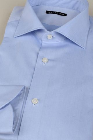 light blue twill shirt french collar slim Angelico