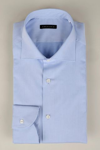 light blue twill shirt french collar Angelico