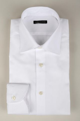 Camicia bianca panama collo Italiano slim Angelico