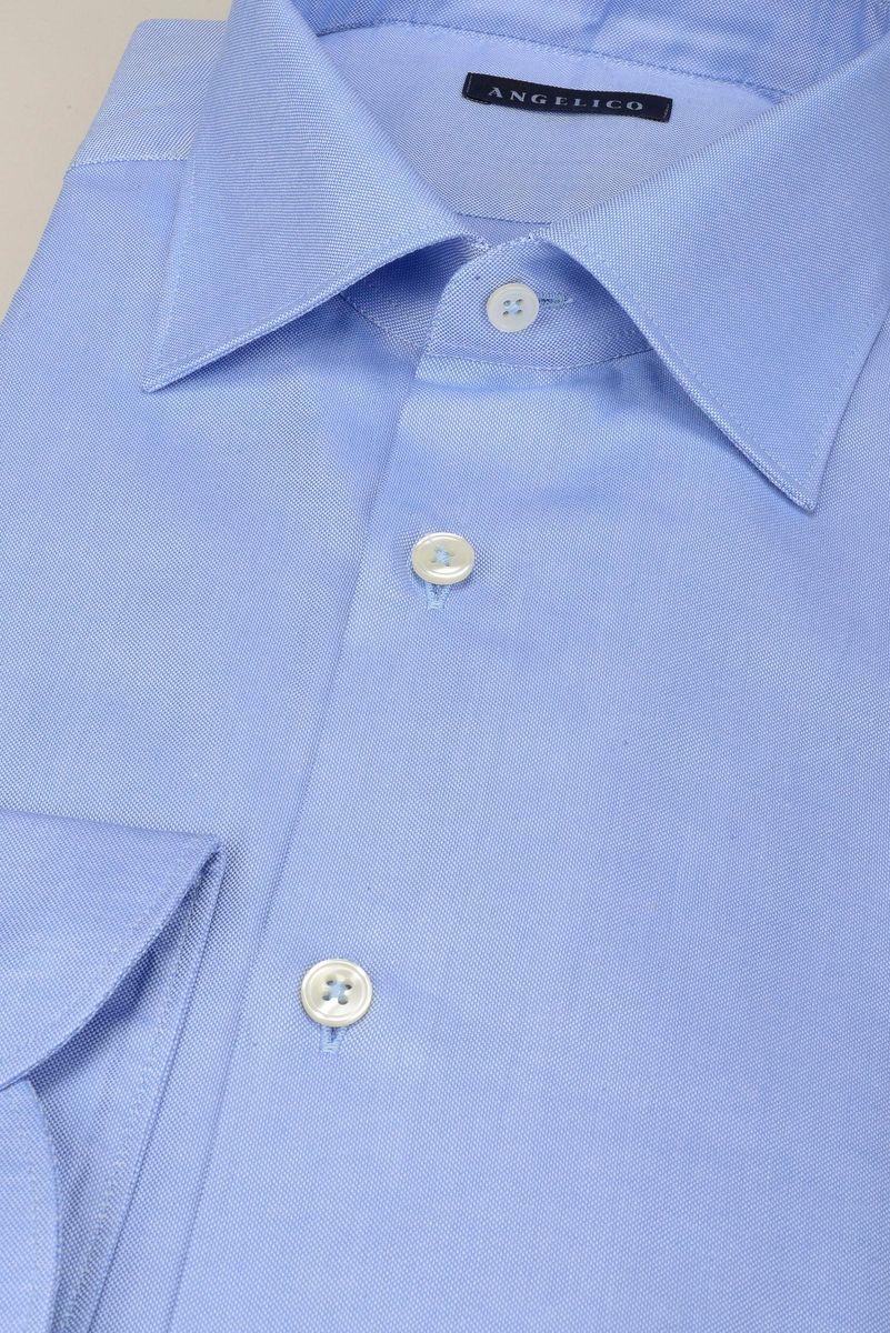 camicia azzurra panama collo italiano slim Angelico