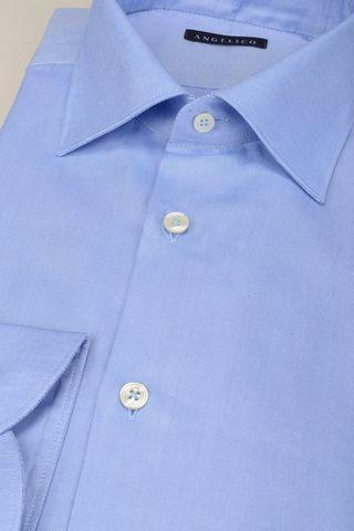 light blue panama shirt italian collar slim Angelico