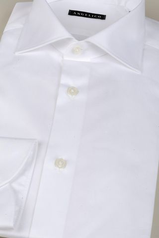 white twill shirt comfort french collar Angelico