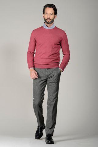 Girocollo lampone con toppe lana cashmere Angelico