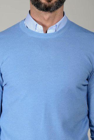 girocollo azzurro con toppe lana cashmere Angelico