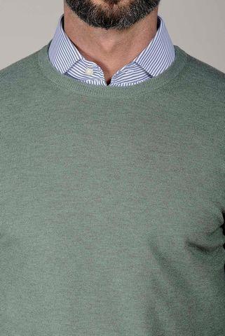 girocollo salvia con toppe lana cashmere Angelico