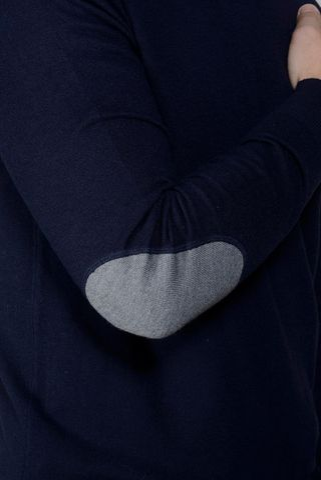 girocollo blu con toppe lana cashmere Angelico