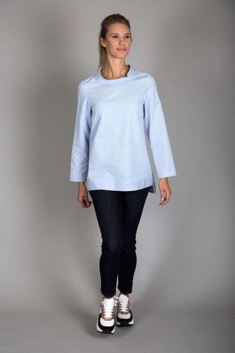 camicia azzurra collo ciambella Angelico