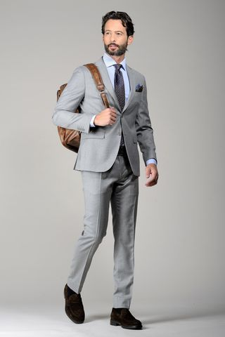 light grey stretch flannel suit slim Angelico