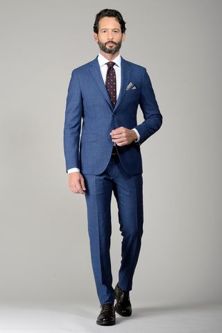light blue structured suit slim Angelico