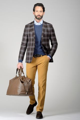 brown checkered jacket beige-blu slim Angelico