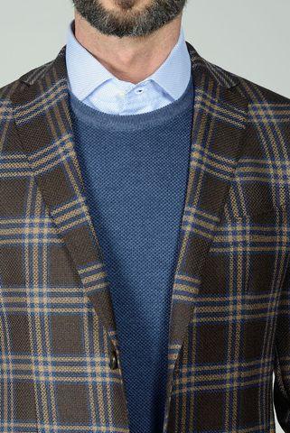 giacca moro quadri beige-blu slim Angelico