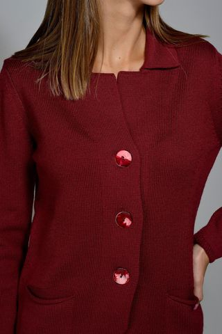 cardigan bordeaux a giacca merino Angelico
